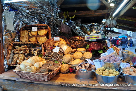 Sweets Pastries and more at a Christmas Market in Paris