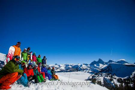 Group photo on top of mountain in Grand Targhee