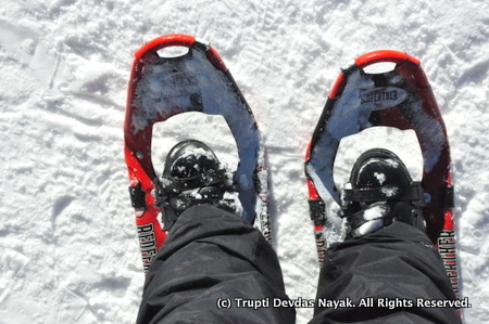 I got my snowshoes on