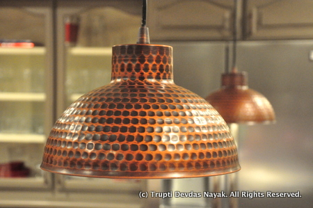 Copper lamps in the kitchen
