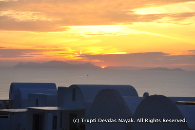 Santorini Sunset from private balcony of room in Oia
